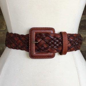 Ann Taylor Belt Leather Brown Braided